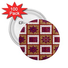 African Fabric Star Plaid Gold Blue Red 2 25  Buttons (100 Pack)