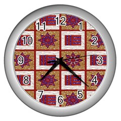 African Fabric Star Plaid Gold Blue Red Wall Clocks (Silver)