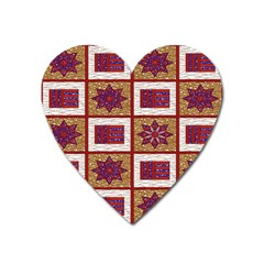 African Fabric Star Plaid Gold Blue Red Heart Magnet
