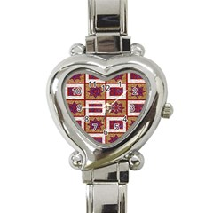 African Fabric Star Plaid Gold Blue Red Heart Italian Charm Watch