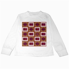 African Fabric Star Plaid Gold Blue Red Kids Long Sleeve T Shirts