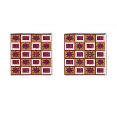 African Fabric Star Plaid Gold Blue Red Cufflinks (square)