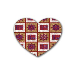 African Fabric Star Plaid Gold Blue Red Rubber Coaster (Heart)