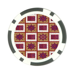 African Fabric Star Plaid Gold Blue Red Poker Chip Card Guard