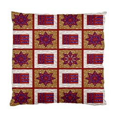African Fabric Star Plaid Gold Blue Red Standard Cushion Case (One Side)