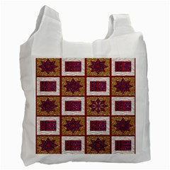 African Fabric Star Plaid Gold Blue Red Recycle Bag (One Side)