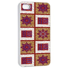 African Fabric Star Plaid Gold Blue Red Apple iPhone 4/4s Seamless Case (White)