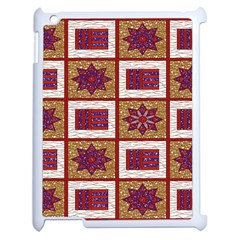 African Fabric Star Plaid Gold Blue Red Apple Ipad 2 Case (white)