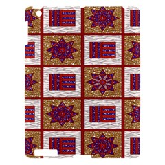 African Fabric Star Plaid Gold Blue Red Apple iPad 3/4 Hardshell Case