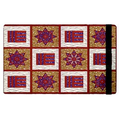 African Fabric Star Plaid Gold Blue Red Apple iPad 3/4 Flip Case