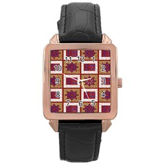 African Fabric Star Plaid Gold Blue Red Rose Gold Leather Watch