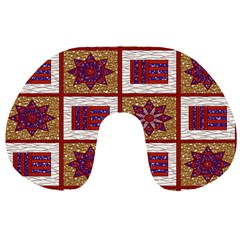 African Fabric Star Plaid Gold Blue Red Travel Neck Pillows