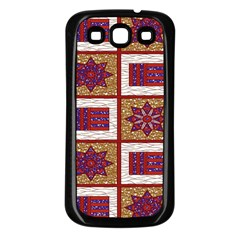 African Fabric Star Plaid Gold Blue Red Samsung Galaxy S3 Back Case (Black)