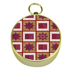 African Fabric Star Plaid Gold Blue Red Gold Compasses