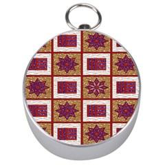 African Fabric Star Plaid Gold Blue Red Silver Compasses