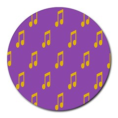 Eighth Note Music Tone Yellow Purple Round Mousepads