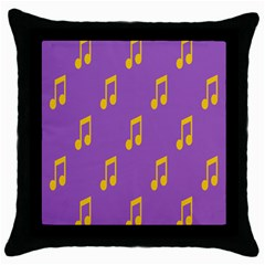 Eighth Note Music Tone Yellow Purple Throw Pillow Case (black)