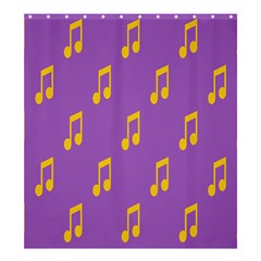 Eighth Note Music Tone Yellow Purple Shower Curtain 66  x 72  (Large)