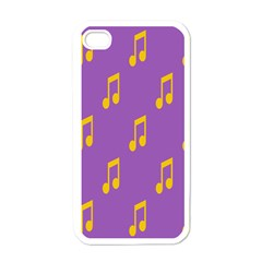 Eighth Note Music Tone Yellow Purple Apple iPhone 4 Case (White)