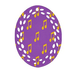 Eighth Note Music Tone Yellow Purple Ornament (Oval Filigree)