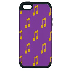Eighth Note Music Tone Yellow Purple Apple iPhone 5 Hardshell Case (PC+Silicone)