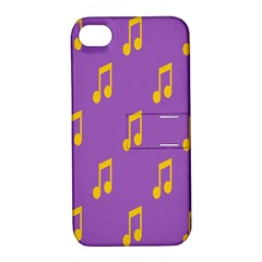 Eighth Note Music Tone Yellow Purple Apple iPhone 4/4S Hardshell Case with Stand