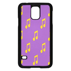 Eighth Note Music Tone Yellow Purple Samsung Galaxy S5 Case (Black)
