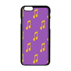 Eighth Note Music Tone Yellow Purple Apple iPhone 6/6S Black Enamel Case