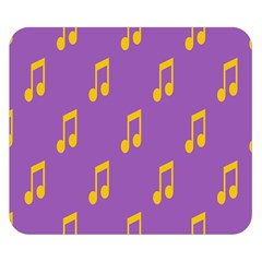 Eighth Note Music Tone Yellow Purple Double Sided Flano Blanket (Small)