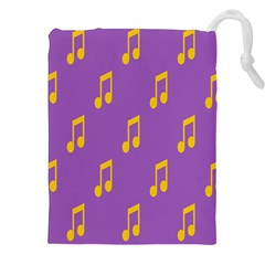 Eighth Note Music Tone Yellow Purple Drawstring Pouches (XXL)