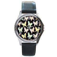 Butterfly Fly Gold Pink Blue Purple Black Round Metal Watch