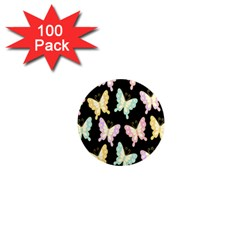 Butterfly Fly Gold Pink Blue Purple Black 1  Mini Magnets (100 Pack)