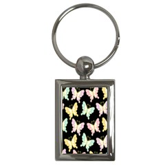 Butterfly Fly Gold Pink Blue Purple Black Key Chains (rectangle)