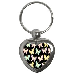 Butterfly Fly Gold Pink Blue Purple Black Key Chains (Heart)