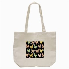 Butterfly Fly Gold Pink Blue Purple Black Tote Bag (cream)
