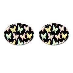 Butterfly Fly Gold Pink Blue Purple Black Cufflinks (Oval)