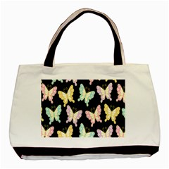 Butterfly Fly Gold Pink Blue Purple Black Basic Tote Bag