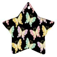 Butterfly Fly Gold Pink Blue Purple Black Star Ornament (Two Sides)