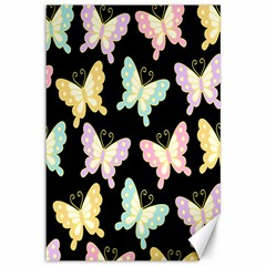 Butterfly Fly Gold Pink Blue Purple Black Canvas 12  X 18