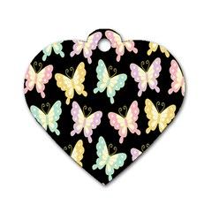 Butterfly Fly Gold Pink Blue Purple Black Dog Tag Heart (One Side)