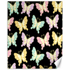 Butterfly Fly Gold Pink Blue Purple Black Canvas 11  x 14