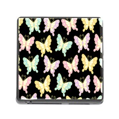 Butterfly Fly Gold Pink Blue Purple Black Memory Card Reader (Square)