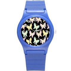 Butterfly Fly Gold Pink Blue Purple Black Round Plastic Sport Watch (S)