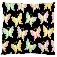 Butterfly Fly Gold Pink Blue Purple Black Large Cushion Case (One Side)