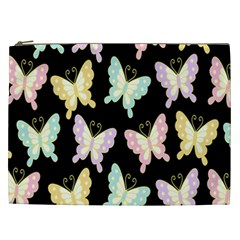 Butterfly Fly Gold Pink Blue Purple Black Cosmetic Bag (XXL)