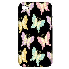 Butterfly Fly Gold Pink Blue Purple Black Apple iPhone 4/4S Hardshell Case (PC+Silicone)
