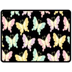 Butterfly Fly Gold Pink Blue Purple Black Double Sided Fleece Blanket (Large)
