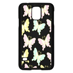 Butterfly Fly Gold Pink Blue Purple Black Samsung Galaxy S5 Case (Black)