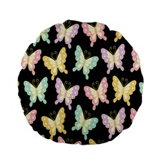 Butterfly Fly Gold Pink Blue Purple Black Standard 15  Premium Flano Round Cushions