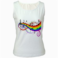 Color Music Notes Women s White Tank Top